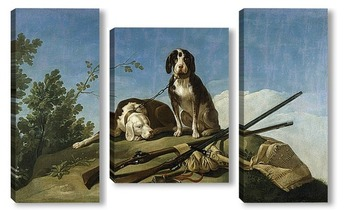 Модульная картина Собаки на привязи