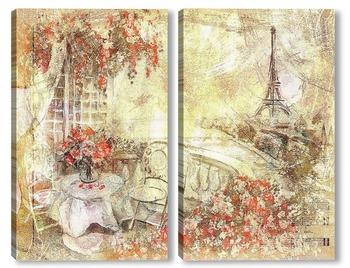 Модульная картина Вид на Париж