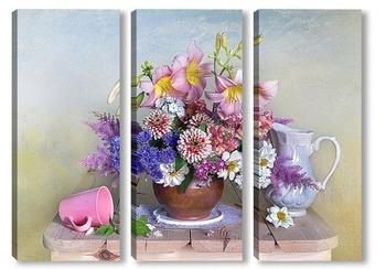 Модульная картина Букет красивых садовых цветов