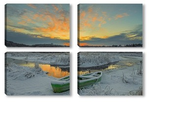 Модульная картина Закат солнца зимой у реки