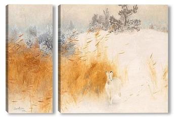 Модульная картина Зимний пейзаж с зайцем