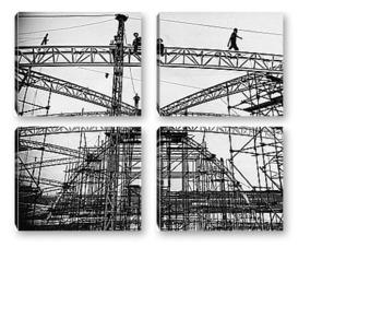 Модульная картина Сборка купола для проведения фестиваля,1951г.