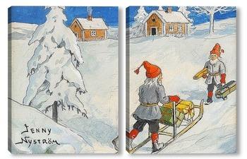 Модульная картина Рождественские гномы.