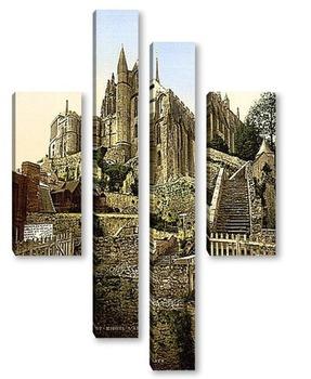 Модульная картина Аббатство, Мон-Сен-Мишель, Франция. 1890-1900 гг