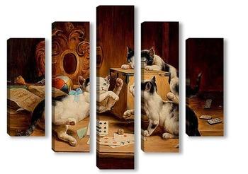 Модульная картина Игра в карты