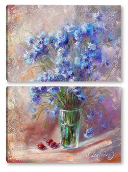 Модульная картина Букет цветы  васильки