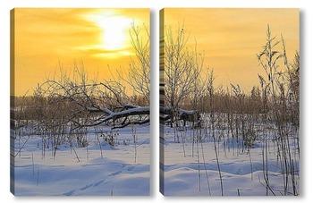 Модульная картина Поваленное дерево на снегу