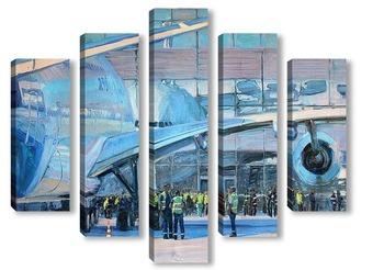 Модульная картина Перрон в аэропорту Домодедово
