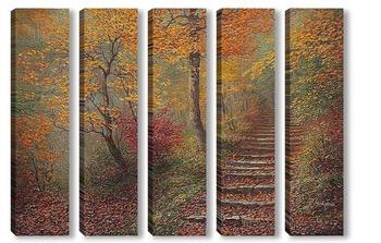 Модульная картина По ступеням с осенью...