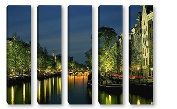 Модульная картина Канал Амстердама ночью.