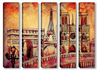 Модульная картина Загадочный Париж