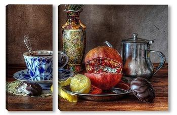 Натюрморт с лимоном и гранатом