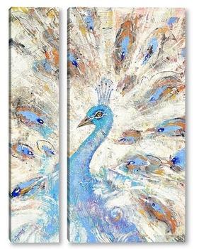 Модульная картина Голубой павлин