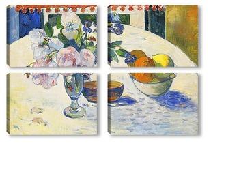 Модульная картина Цветы и ваза с фруктами на столе