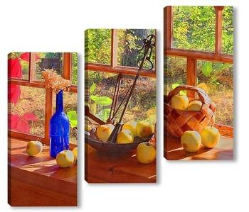 Модульная картина Натюрморт с безменом и яблоками.