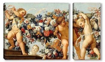 Модульная картина Купидоны с цветочными гирляндами