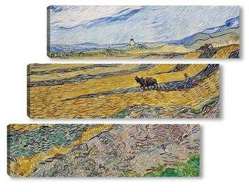 Модульная картина Закрытое поле с пахарем