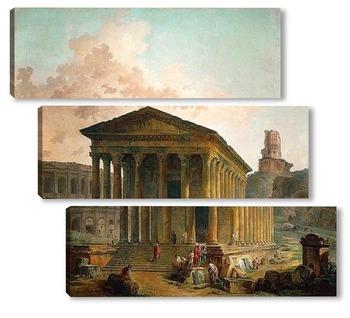 Модульная картина Мезон Карре, амфитеатр и башня Мань в Ниме