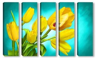 Модульная картина Желтые тюльпаны