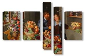 Модульная картина Большой Натюрморт с фруктами, овощами и цветами и пара