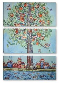 Модульная картина Дерево птиц