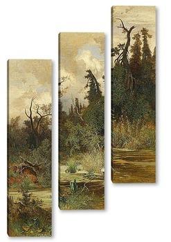 Модульная картина Летом в лесистой местности