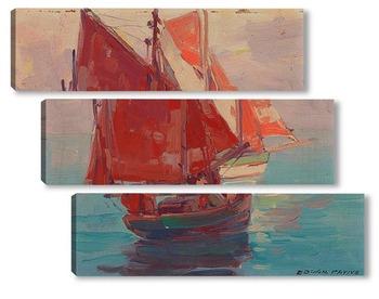 Модульная картина Рыболовные лодки