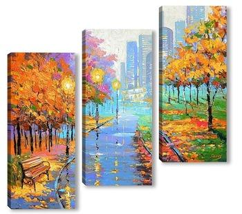 Модульная картина Осень в большом городе