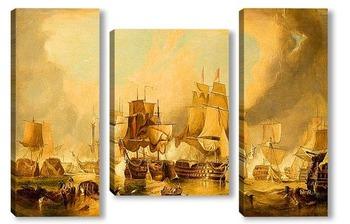 Модульная картина Торговые корабли в гаване