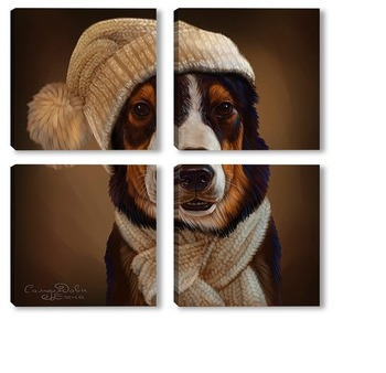 Модульная картина Собака в шапке