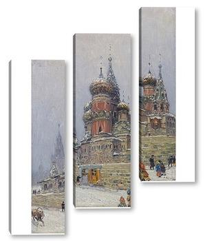 Модульная картина Собор Василия блаженного зимой