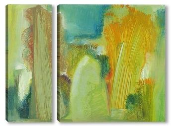Модульная картина наивный пейзаж со стогом на поляне