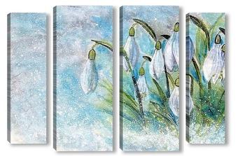 Модульная картина Снежные цветы