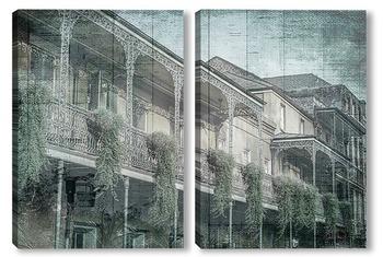 Модульная картина Балкон с растениями