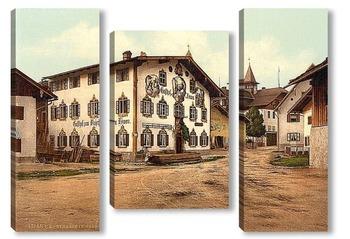 Модульная картина Обераммергау, Верхняя Бавария, Германия. 1890-1900 гг