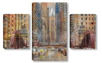 Модульная картина Городская суета Чикаго
