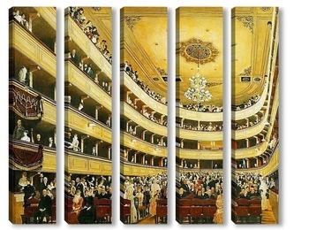 Модульная картина Интерьер Старого городского театра (1888)