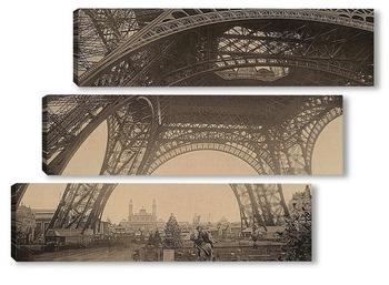 Модульная картина Под Эйфелевой башней