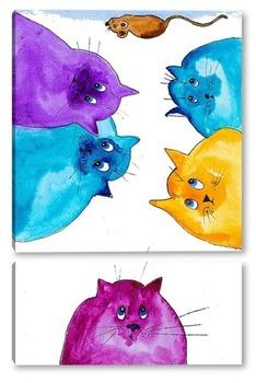 Модульная картина Коты и мышь