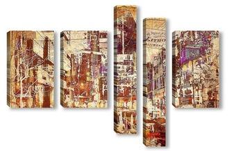 Модульная картина рисунок мегаполиса