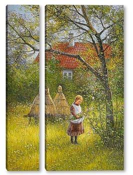 Модульная картина Лилиан в саду.Мотив из Сконе