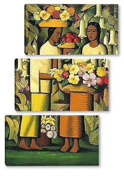 Модульная картина Женщины с цветами