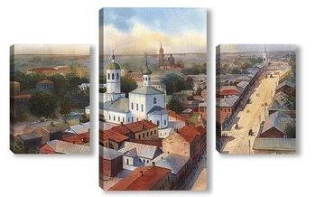 Модульная картина Старая Тула. Пятницкая улица