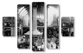 Модульная картина Главная элетрическая башня в свете,1893г.
