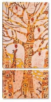 Модульная картина Дерево жизни с жирафом
