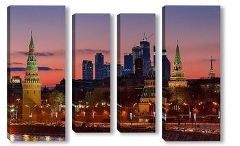 Модульная картина Москва. Сити. Кремль