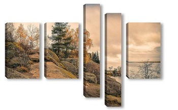 Модульная картина Выборг. Осень в парке Монрепо.