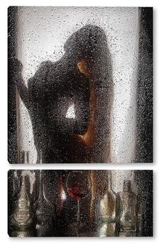 Модульная картина Силуэт девушки за мокрым стеклом.