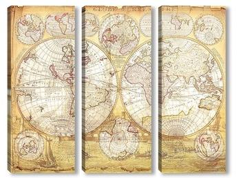 Модульная картина Старая карта мира