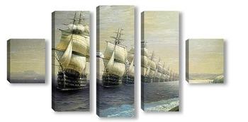 Модульная картина Смотр Черноморского флота в 1849 г